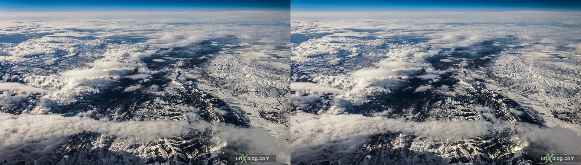 2013, Wyoming, Rocky mountains, USA, panorama, airplane, black and white, bw, snow, ice, clouds, horizon, 3D, stereo pair, cross-eyed, crossview, cross view stereo pair, stereoscopic