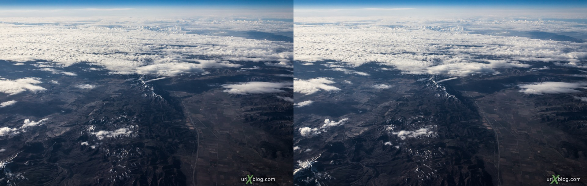 2013, Utah, Rocky mountains, USA, panorama, airplane, black and white, bw, snow, ice, clouds, horizon, 3D, stereo pair, cross-eyed, crossview, cross view stereo pair, stereoscopic