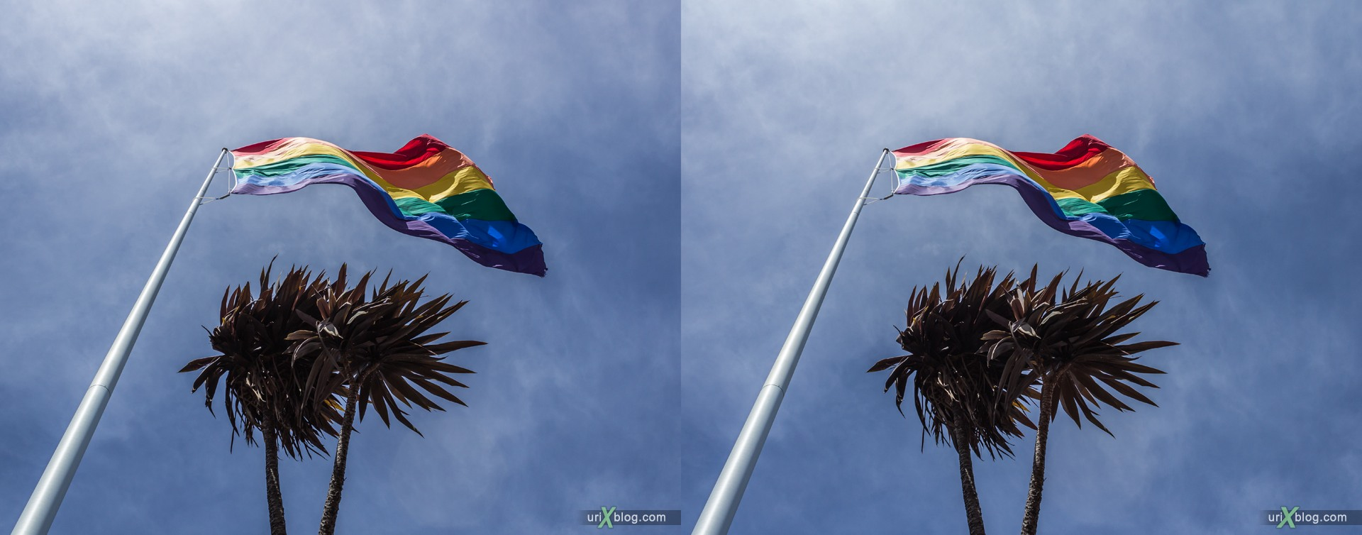 2013, Castro rainbow flag, San Francisco, USA, 3D, stereo pair, cross-eyed, crossview, cross view stereo pair, stereoscopic