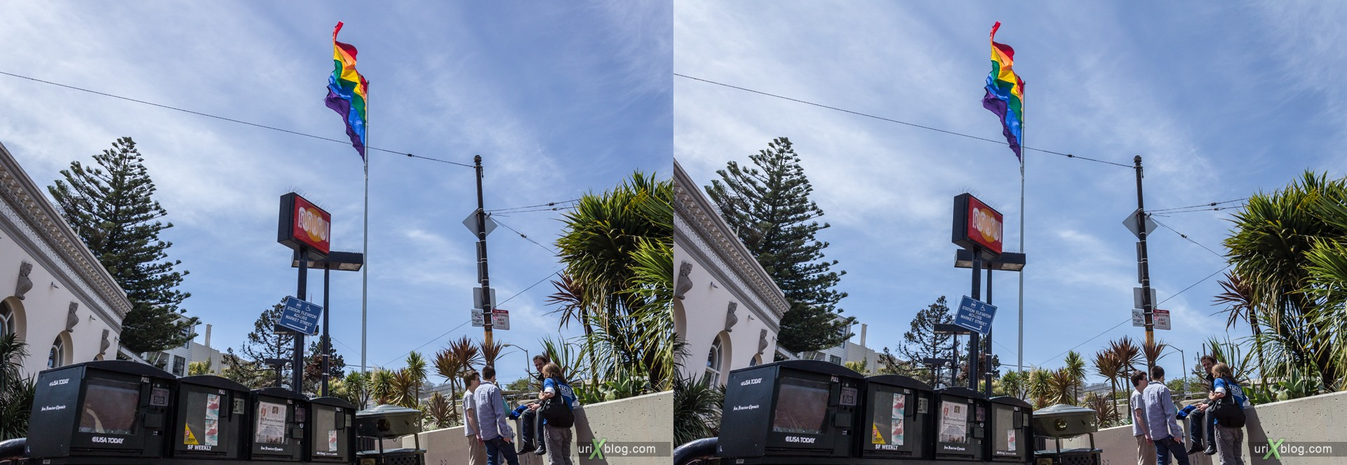 2013, Castro rainbow flag, Dolores Heights, San Francisco, USA, 3D, stereo pair, cross-eyed, crossview, cross view stereo pair, stereoscopic