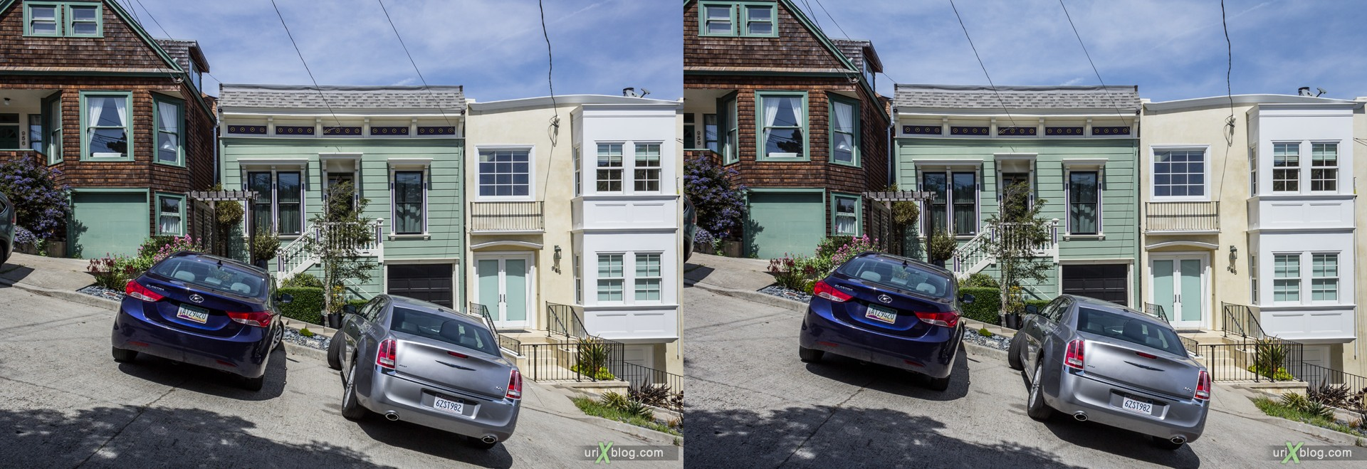 2013, Castro, Dolores Heights, San Francisco, USA, 3D, stereo pair, cross-eyed, crossview, cross view stereo pair, stereoscopic