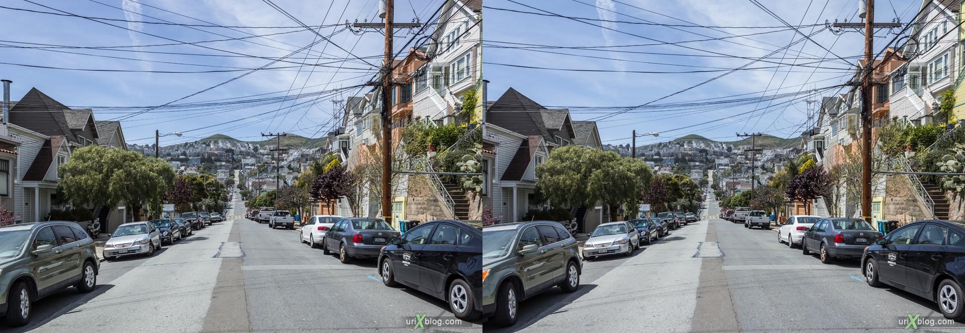 2013, Twin Peaks, Castro, Dolores Heights, Сан-Франциско, США, 3D, перекрёстные стереопары, стерео, стереопара, стереопары