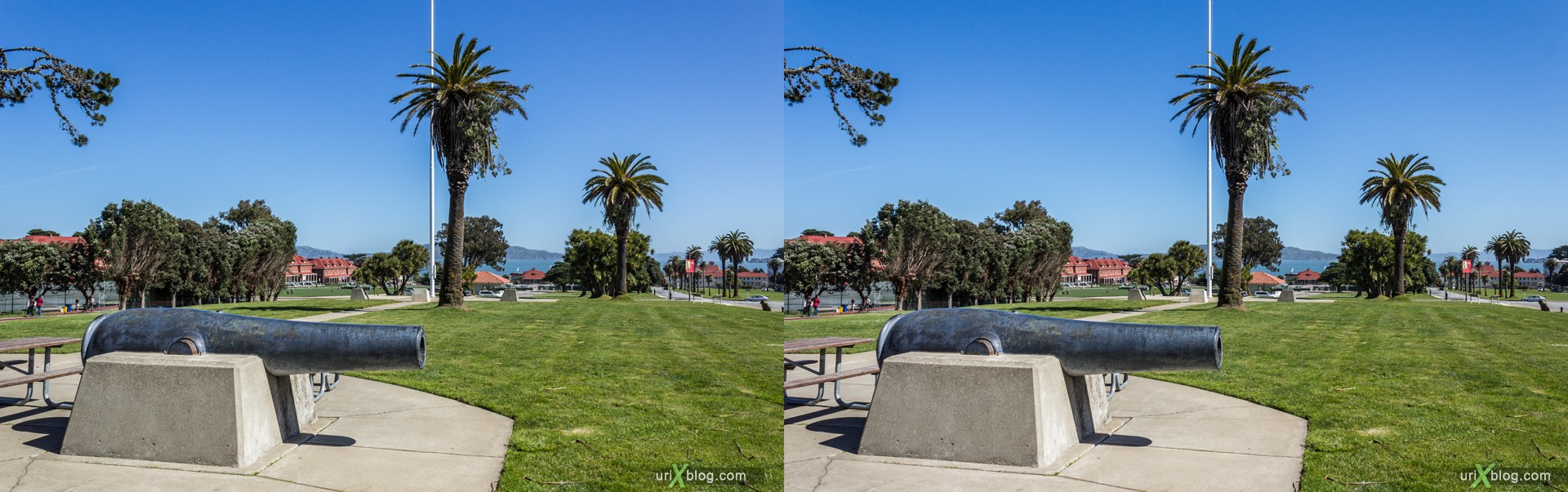 2013, USA, California, San Francisco National Cemetery, 3D, stereo pair, cross-eyed, crossview, cross view stereo pair, stereoscopic