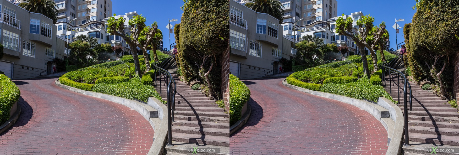 2013, USA, California, San Francisco, Russian hill, Lombard street, 3D, stereo pair, cross-eyed, crossview, cross view stereo pair, stereoscopic