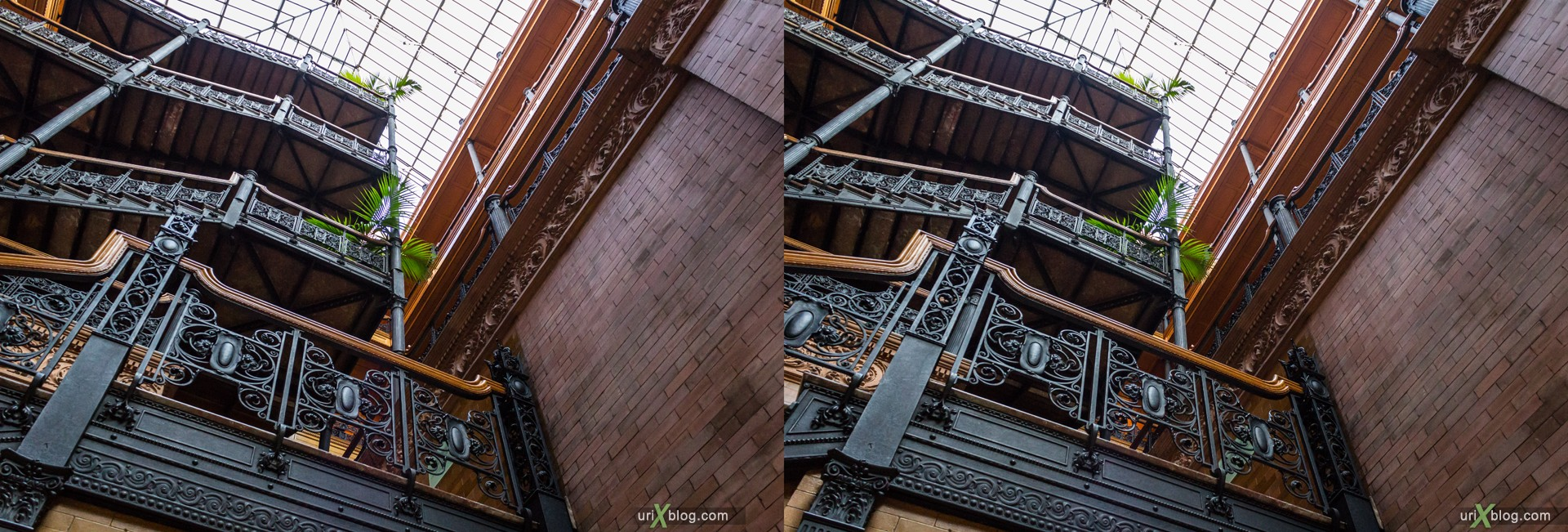 2013, USA, Bradbury Building, Los Angeles, California, 3D, stereo pair, cross-eyed, crossview, cross view stereo pair, stereoscopic