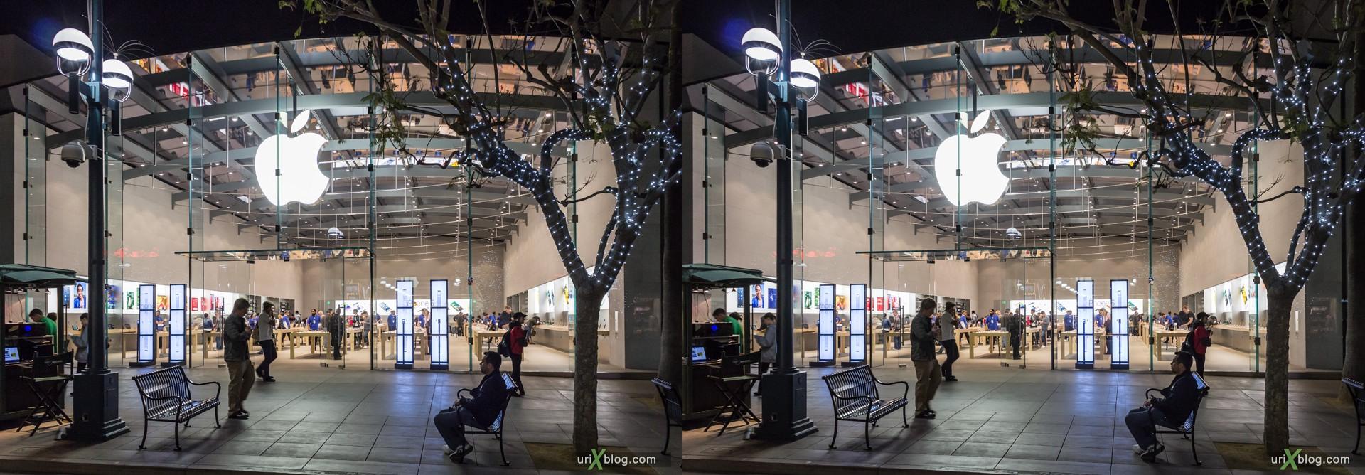 2013, Apple, Apple Store, 1415 3rd Street Promenade, Santa Monica, Los Angeles, LA, USA, 3D, stereo pair, cross-eyed, crossview, cross view stereo pair, stereoscopic