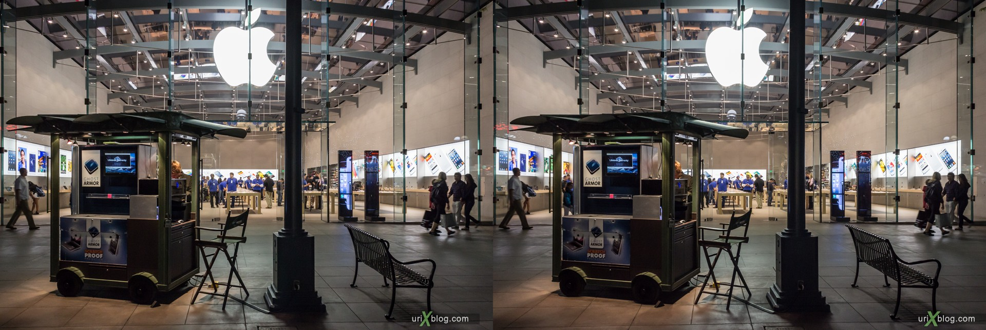 2013, Apple, Apple Store, 1415 3rd Street Promenade, Santa Monica, Los Angeles, LA, USA, 3D, stereo pair, cross-eyed, crossview, cross view stereo pair, stereoscopic