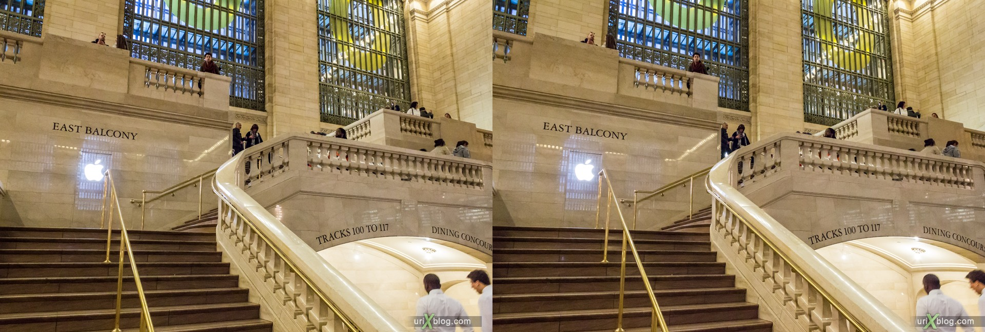 2013, Apple, Apple Store, Grand Central Terminal, NYC, New York, USA, 3D, stereo pair, cross-eyed, crossview, cross view stereo pair, stereoscopic