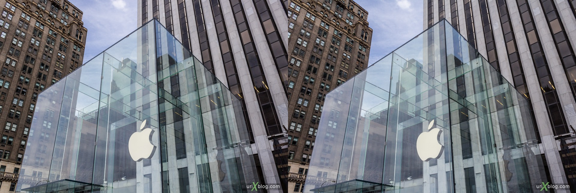 2013, Apple, Apple Store, Fifth Avenue, NYC, New York, USA, 3D, stereo pair, cross-eyed, crossview, cross view stereo pair, stereoscopic