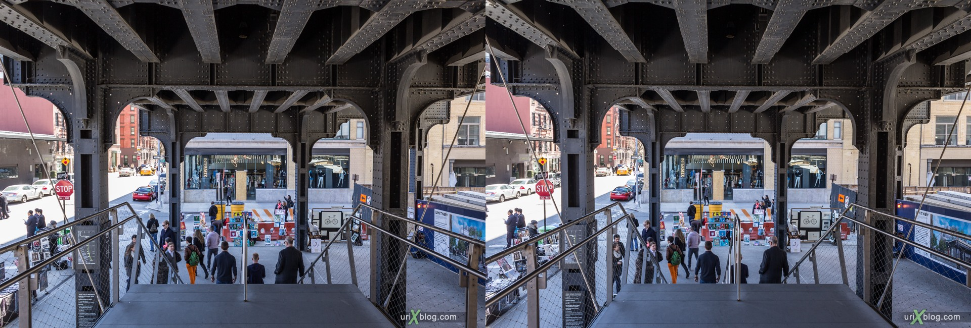 2013, High Line, park, railway, people, NYC, New York, Manhattan, USA, 3D, stereo pair, cross-eyed, crossview, cross view stereo pair, stereoscopic