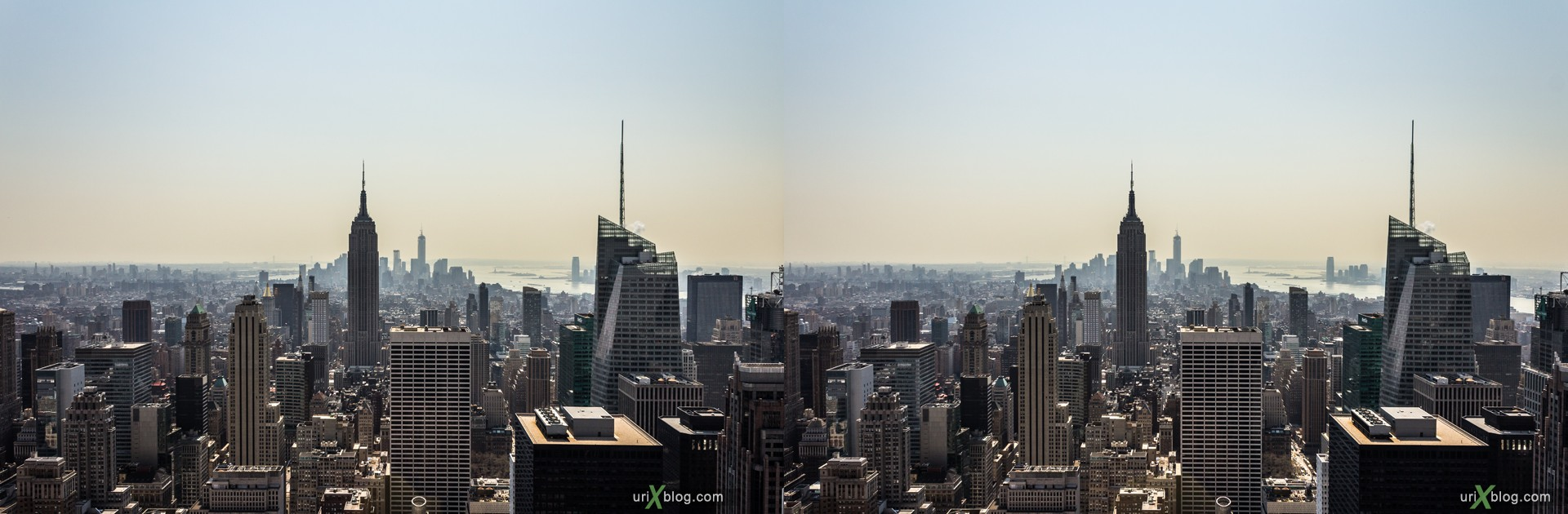 2013, NYC, New York, Lower Manhattan, Top of the Rock Observation Deck, Rockefeller Canter, view from the top, city, building, skyscraper, panorama, 3D, stereo pair, cross-eyed, crossview, cross view stereo pair, stereoscopic