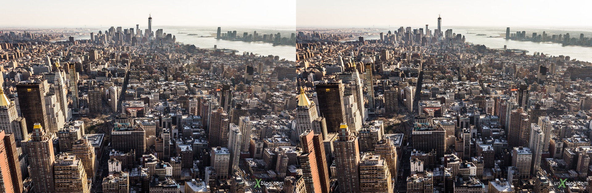 2013, NYC, New York, Lower Manhattan, Empire State Building, view from the top, city, building, skyscraper, panorama, 3D, stereo pair, cross-eyed, crossview, cross view stereo pair, stereoscopic