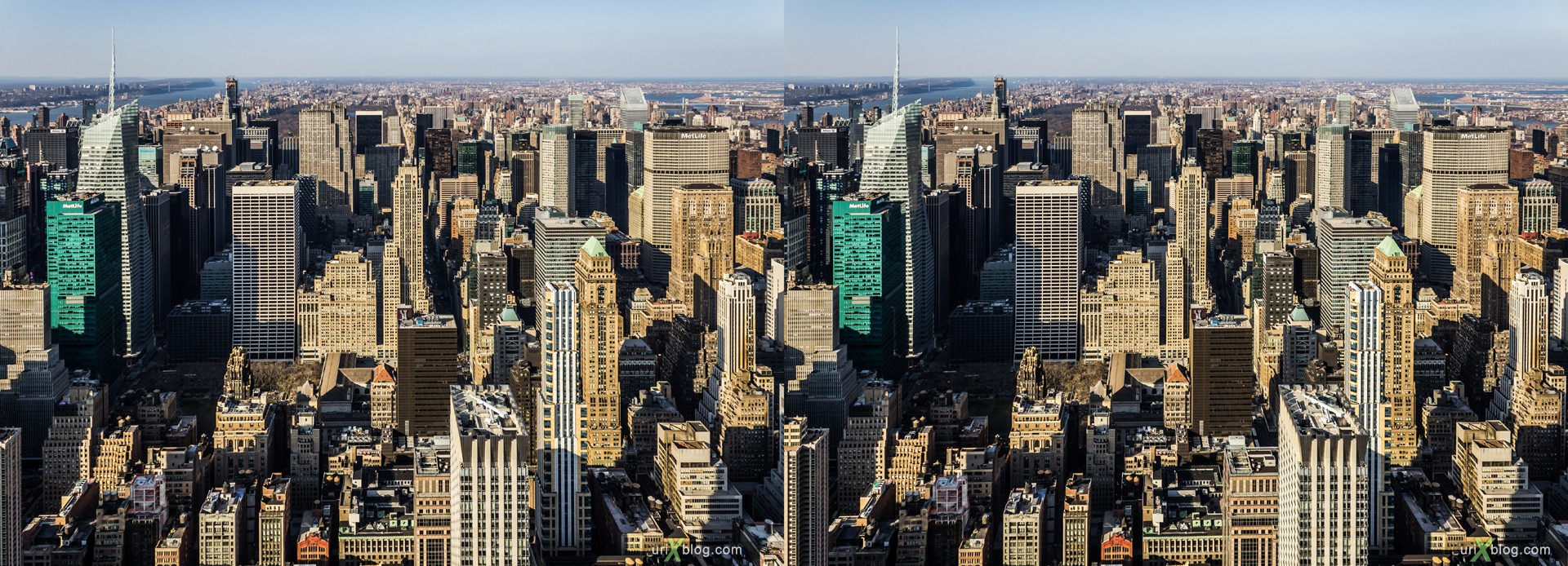 2013, NYC, New York, Manhattan, Empire State Building, view from the top, city, building, skyscraper, panorama, 3D, stereo pair, cross-eyed, crossview, cross view stereo pair, stereoscopic