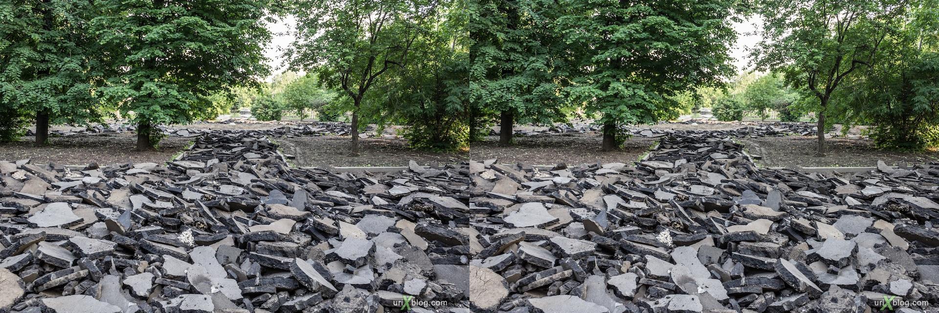 2013, Vojkovskaya, asphalt, park, trees, Moscow, Russia, 3D, stereo pair, cross-eyed, crossview, cross view stereo pair, stereoscopic