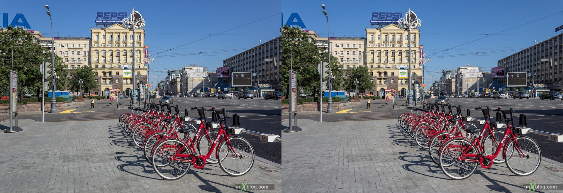 2013, rent, bike, bicycle, Pushkin square, Tverskaya, street, road, Moscow, Russia, 3D, stereo pair, cross-eyed, crossview, cross view stereo pair, stereoscopic