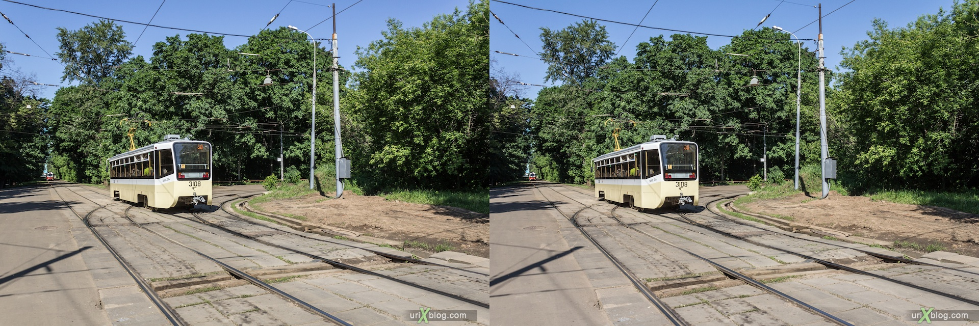 2013, Tram, line, railway, trees, forrest, road, Voykovskaya, Shukinskaya, Moscow, Russia, 3D, stereo pair, cross-eyed, crossview, cross view stereo pair, stereoscopic