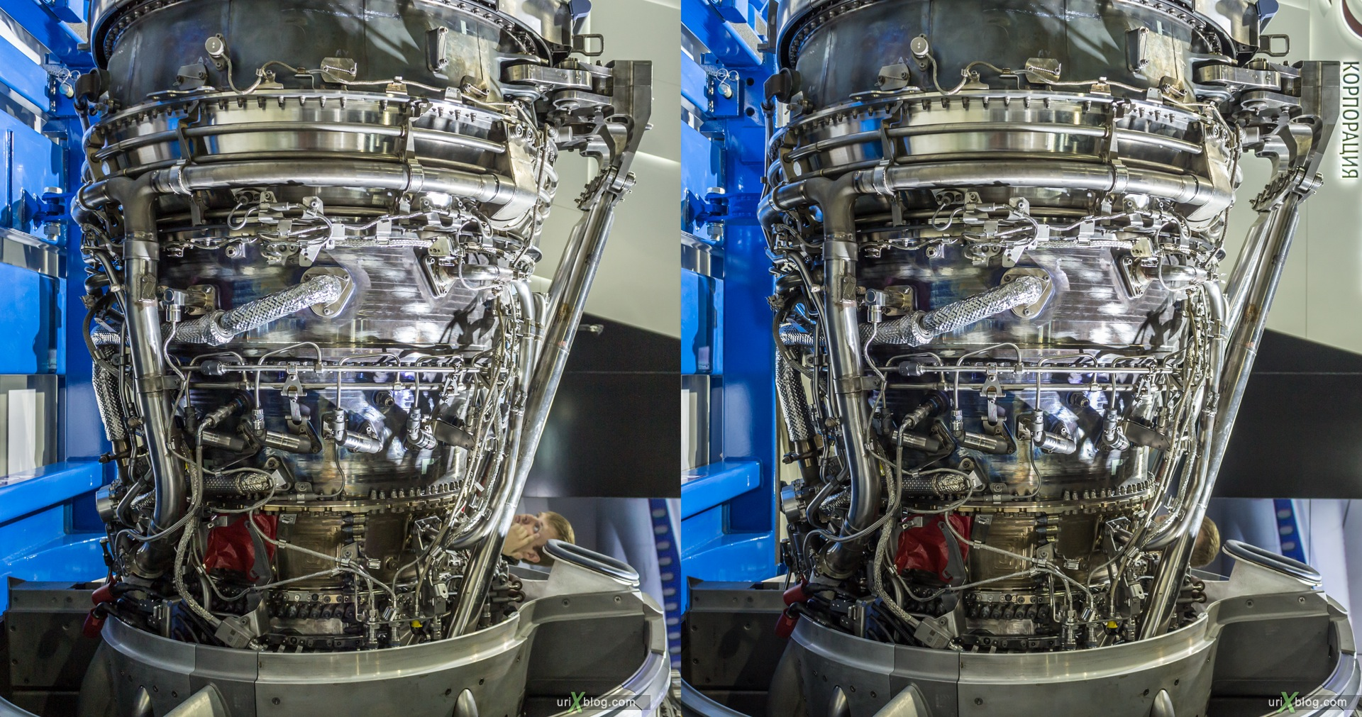 2013, MAKS, International Aviation and Space Salon, Russia, Ramenskoye airfield, airplane, engine, turbine, 3D, stereo pair, cross-eyed, crossview, cross view stereo pair, stereoscopic