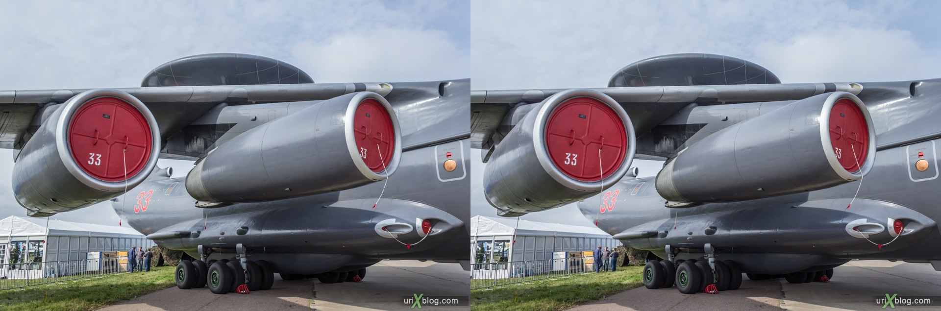 2013, A-50, MAKS, International Aviation and Space Salon, Russia, Ramenskoye airfield, airplane, 3D, stereo pair, cross-eyed, crossview, cross view stereo pair, stereoscopic