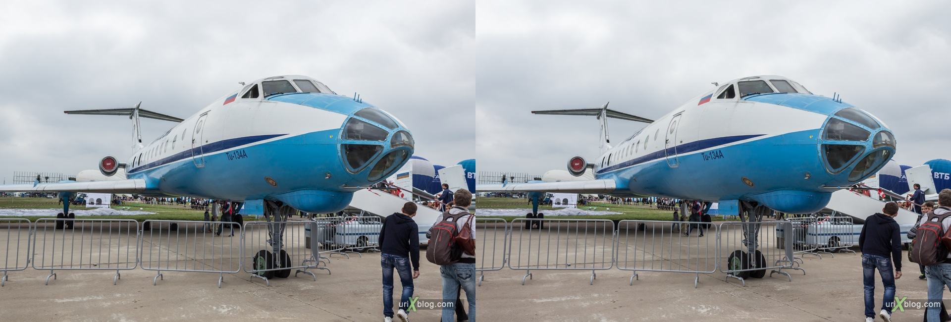 2013, Tu-134A, MAKS, International Aviation and Space Salon, Russia, Ramenskoye airfield, airplane, 3D, stereo pair, cross-eyed, crossview, cross view stereo pair, stereoscopic