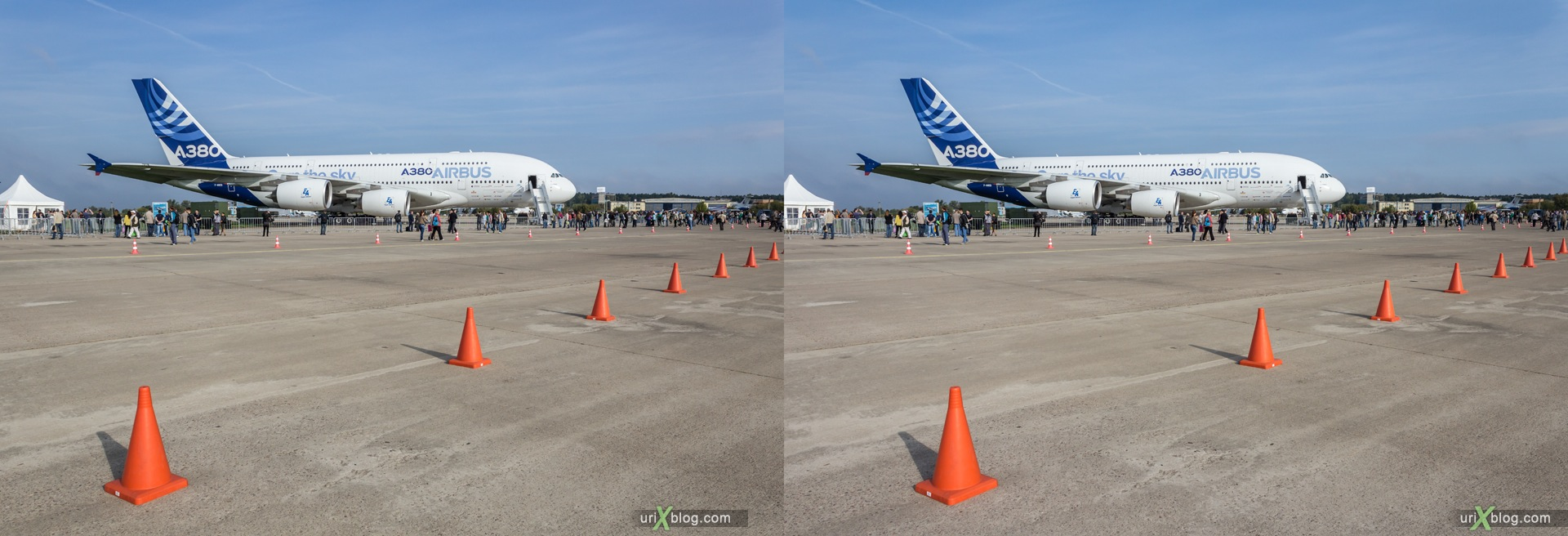 2013, Airbus A-380, MAKS, International Aviation and Space Salon, Russia, Ramenskoye airfield, airplane, 3D, stereo pair, cross-eyed, crossview, cross view stereo pair, stereoscopic