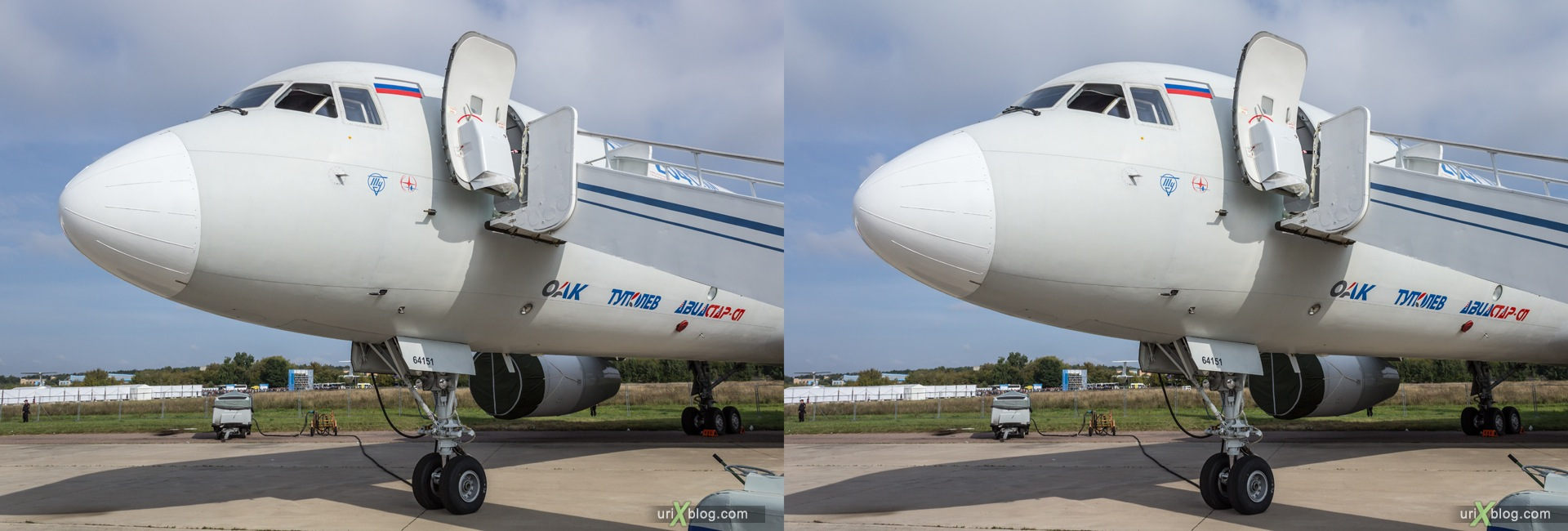 2013, Tu-204SM, MAKS, International Aviation and Space Salon, Russia, Ramenskoye airfield, airplane, 3D, stereo pair, cross-eyed, crossview, cross view stereo pair, stereoscopic