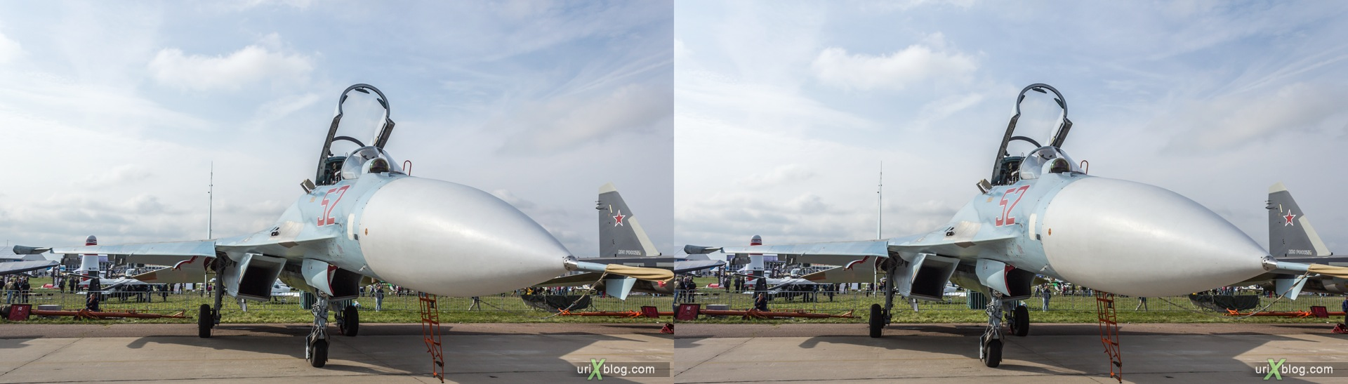 2013, Su-27SM3, MAKS, International Aviation and Space Salon, Russia, Soviet, USSR, Ramenskoye airfield, airplane, 3D, stereo pair, cross-eyed, crossview, cross view stereo pair, stereoscopic