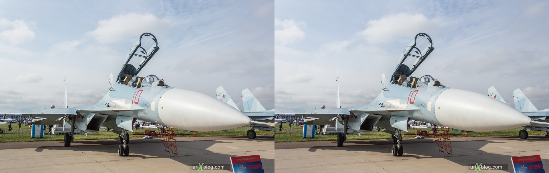 2013, Su-30M2, MAKS, International Aviation and Space Salon, Russia, Soviet, USSR, Ramenskoye airfield, airplane, 3D, stereo pair, cross-eyed, crossview, cross view stereo pair, stereoscopic