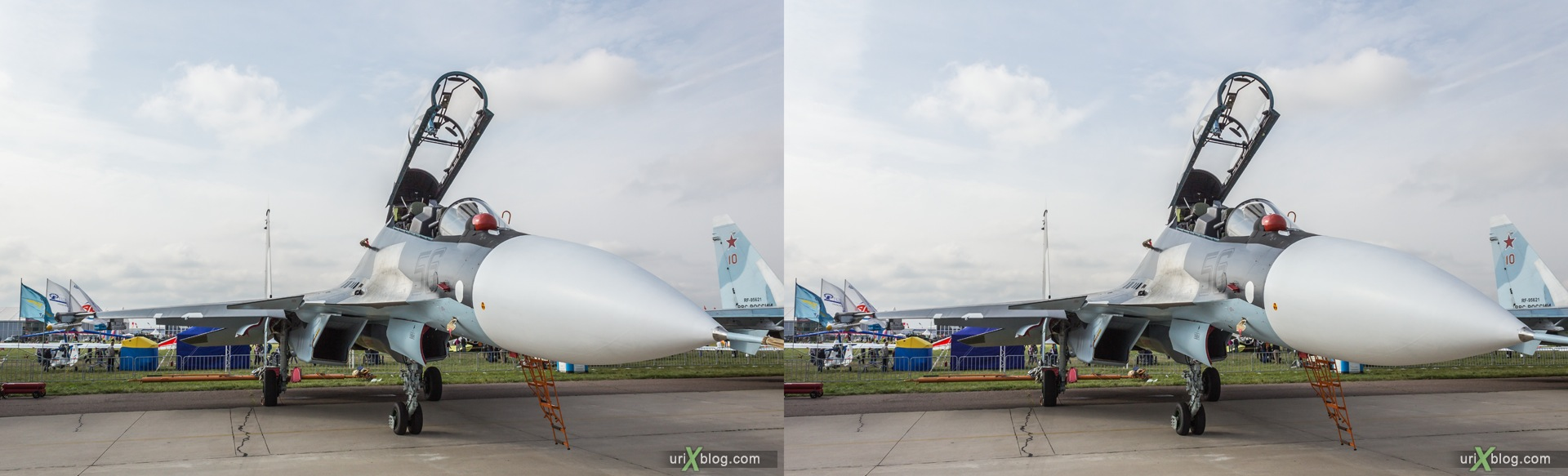 2013, Su-30SM, MAKS, International Aviation and Space Salon, Russia, Soviet, USSR, Ramenskoye airfield, airplane, 3D, stereo pair, cross-eyed, crossview, cross view stereo pair, stereoscopic