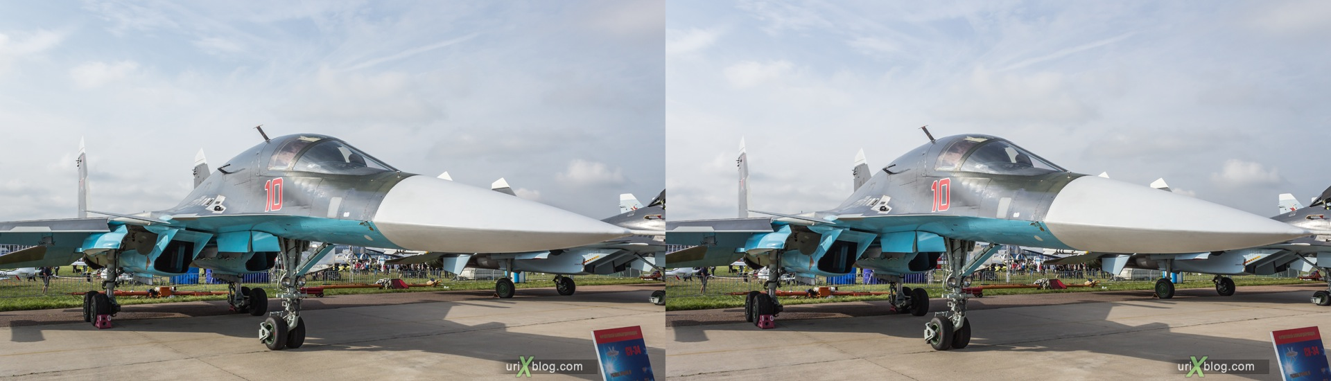 2013, Su-34, MAKS, International Aviation and Space Salon, Russia, Soviet, USSR, Ramenskoye airfield, airplane, 3D, stereo pair, cross-eyed, crossview, cross view stereo pair, stereoscopic