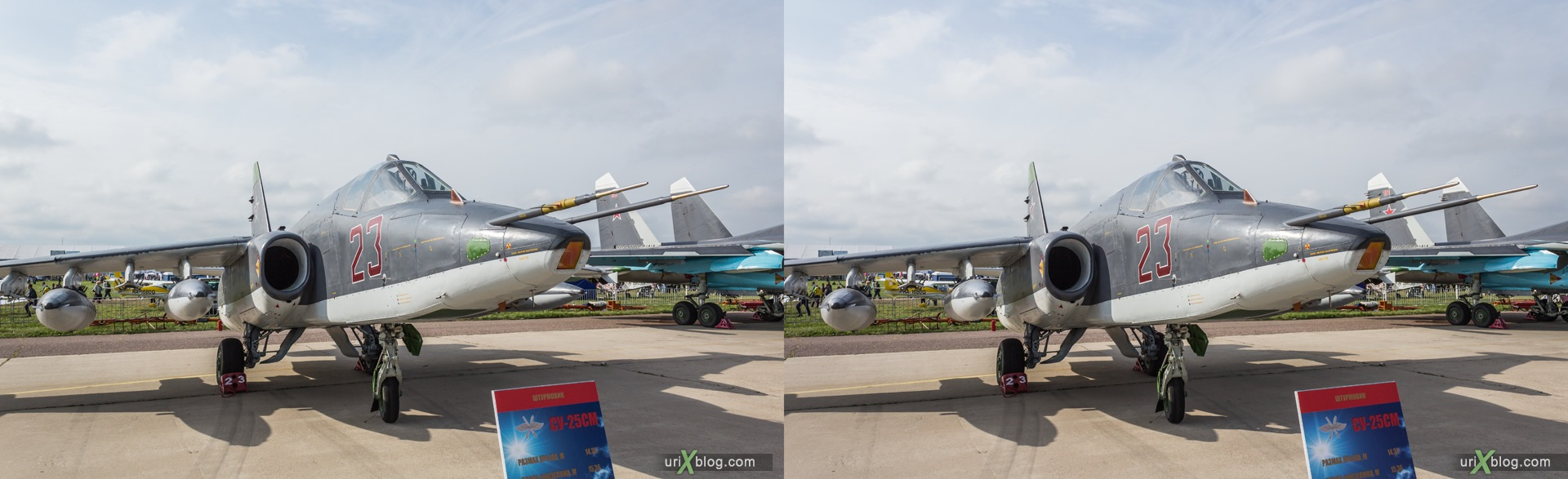 2013, Su-25SM, MAKS, International Aviation and Space Salon, Russia, Soviet, USSR, Ramenskoye airfield, airplane, 3D, stereo pair, cross-eyed, crossview, cross view stereo pair, stereoscopic