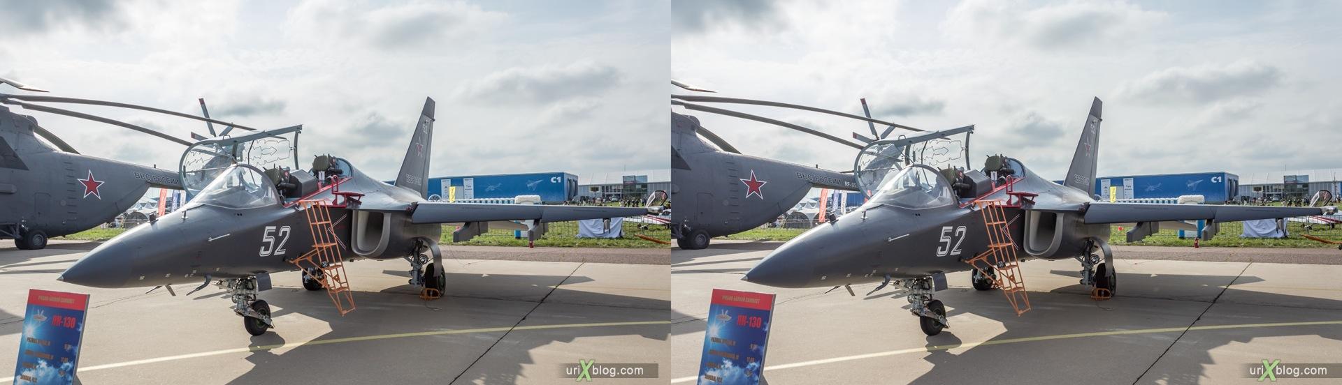 2013, Як-130, Россия, СССР, Советский, Раменское, Жуковский, аэродром, самолёт, МАКС, Международный Авиационно-космический Салон, 3D, перекрёстная стереопара, стерео, стереопара
