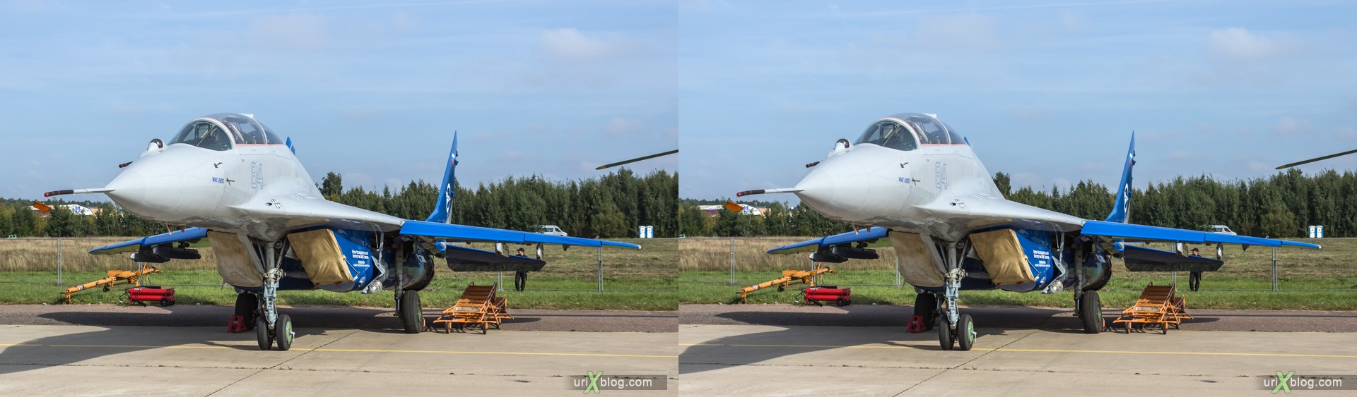 2013, MiG-29ЛЛ, MAKS, International Aviation and Space Salon, Russia, Soviet, USSR, Ramenskoye airfield, airplane, 3D, stereo pair, cross-eyed, crossview, cross view stereo pair, stereoscopic