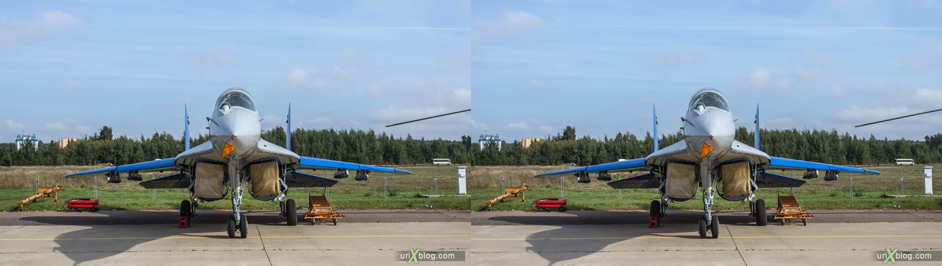 2013, MiG-29LL, MAKS, International Aviation and Space Salon, Russia, Soviet, USSR, Ramenskoye airfield, airplane, 3D, stereo pair, cross-eyed, crossview, cross view stereo pair, stereoscopic