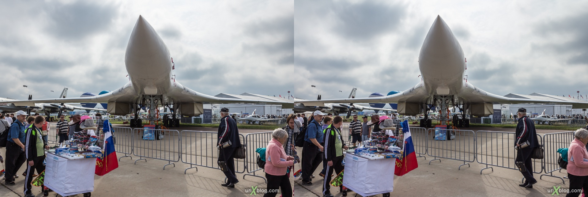 2013, Tu-160, MAKS, International Aviation and Space Salon, Russia, Soviet, USSR, Ramenskoye airfield, airplane, 3D, stereo pair, cross-eyed, crossview, cross view stereo pair, stereoscopic