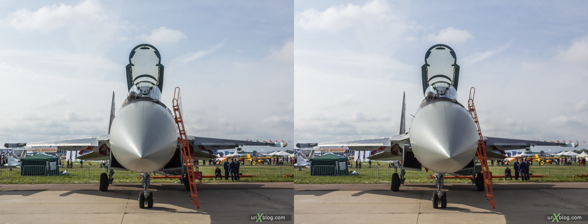 2013, Su-35S, MAKS, International Aviation and Space Salon, Russia, Soviet, USSR, Ramenskoye airfield, airplane, 3D, stereo pair, cross-eyed, crossview, cross view stereo pair, stereoscopic