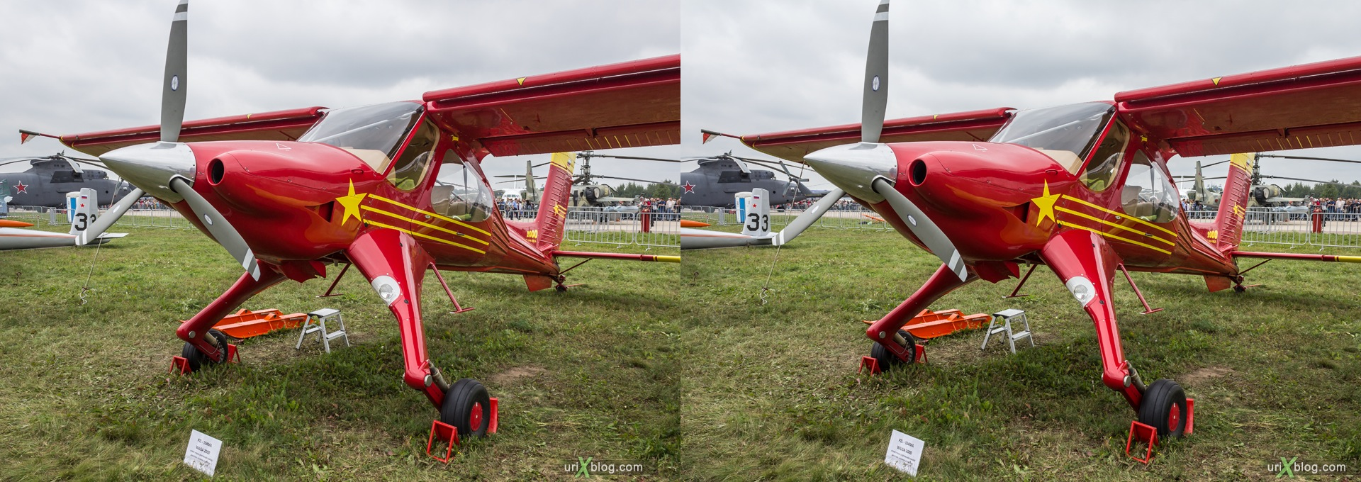 2013, PZL-104MA Wilga 2000, MAKS, International Aviation and Space Salon, Russia, Ramenskoye airfield, airplane, 3D, stereo pair, cross-eyed, crossview, cross view stereo pair, stereoscopic