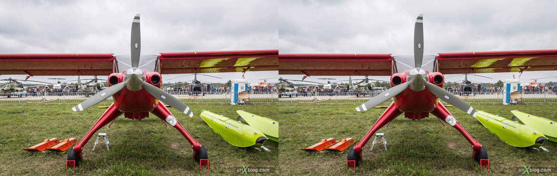 2013, PZL-104MA Wilga 2000, Россия, Раменское, Жуковский, аэродром, самолёт, экспозиция, МАКС, Международный Авиационно-космический Салон, 3D, перекрёстная стереопара, стерео, стереопара