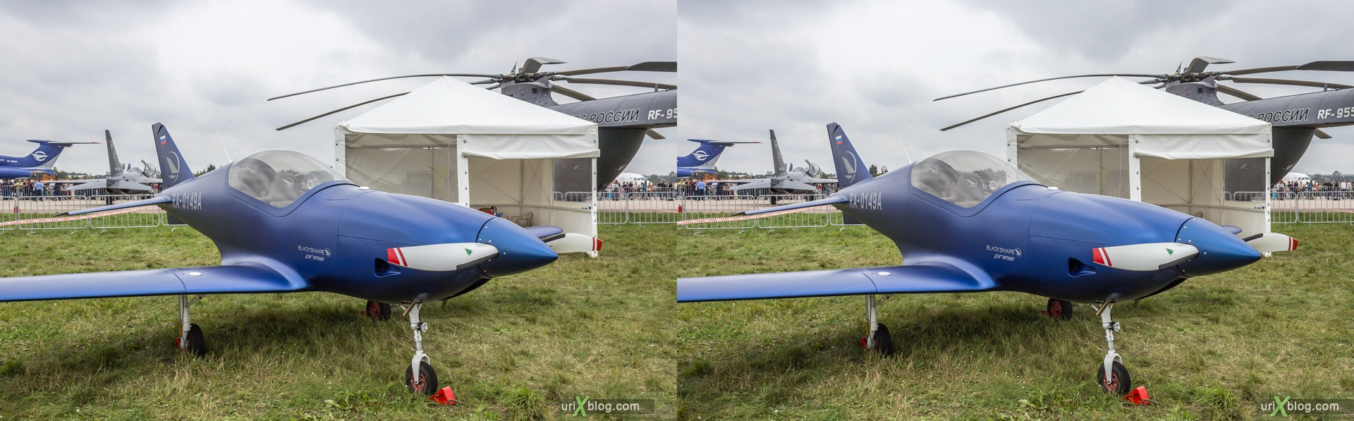 2013, Blackshape Prime, MAKS, International Aviation and Space Salon, Russia, Ramenskoye airfield, airplane, 3D, stereo pair, cross-eyed, crossview, cross view stereo pair, stereoscopic