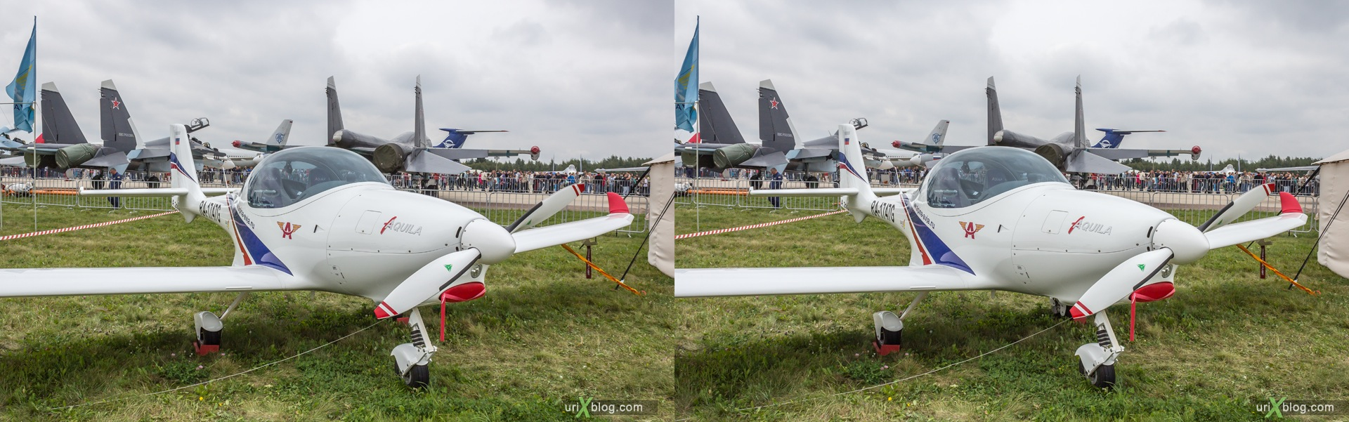 2013, Aquila A210, MAKS, International Aviation and Space Salon, Russia, Ramenskoye airfield, airplane, 3D, stereo pair, cross-eyed, crossview, cross view stereo pair, stereoscopic