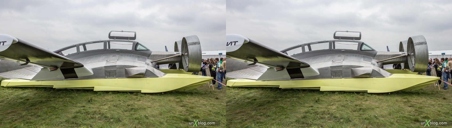 2013, Ekranoplan EK-12 Ivolga, MAKS, International Aviation and Space Salon, Russia, Ramenskoye airfield, airplane, 3D, stereo pair, cross-eyed, crossview, cross view stereo pair, stereoscopic