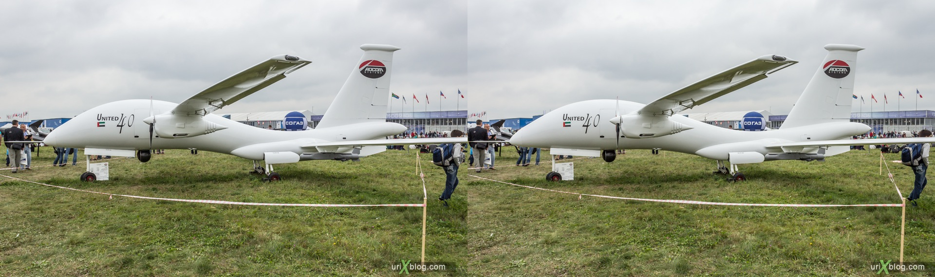 2013, Yabhon United 40, беспилотник, Россия, Раменское, Жуковский, аэродром, самолёт, экспозиция, МАКС, Международный Авиационно-космический Салон, 3D, перекрёстная стереопара, стерео, стереопара