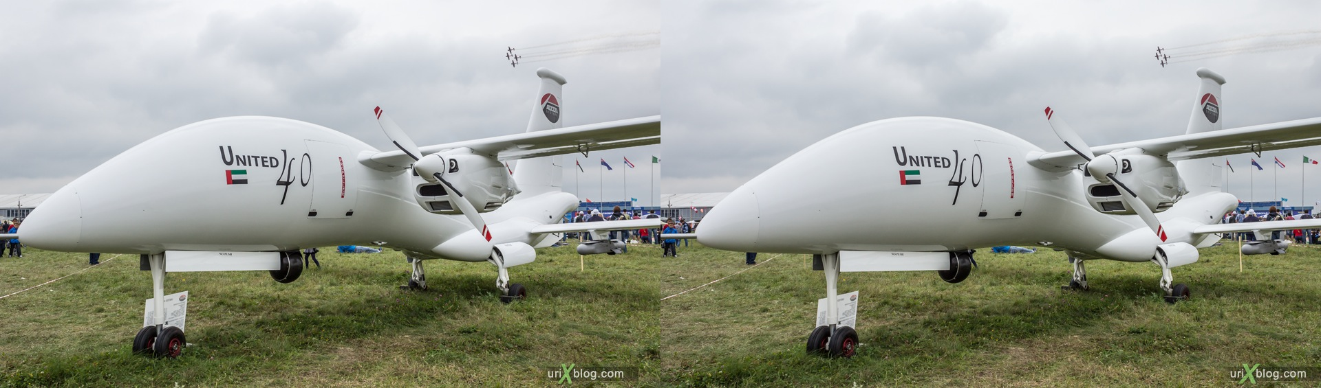 2013, Yabhon United 40, UAV, MAKS, International Aviation and Space Salon, Russia, Ramenskoye airfield, airplane, 3D, stereo pair, cross-eyed, crossview, cross view stereo pair, stereoscopic