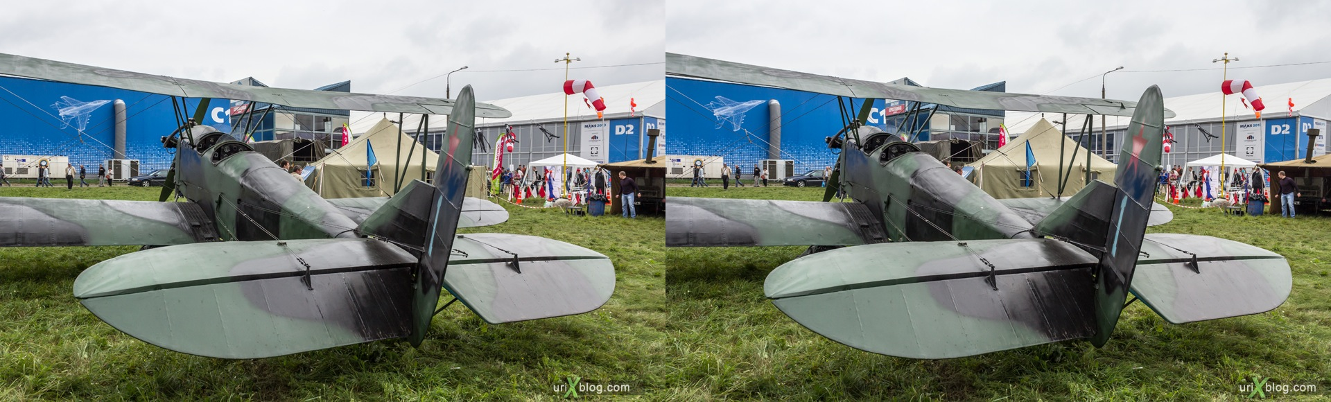 2013, Po-2, MAKS, International Aviation and Space Salon, Russia, Ramenskoye airfield, airplane, 3D, stereo pair, cross-eyed, crossview, cross view stereo pair, stereoscopic