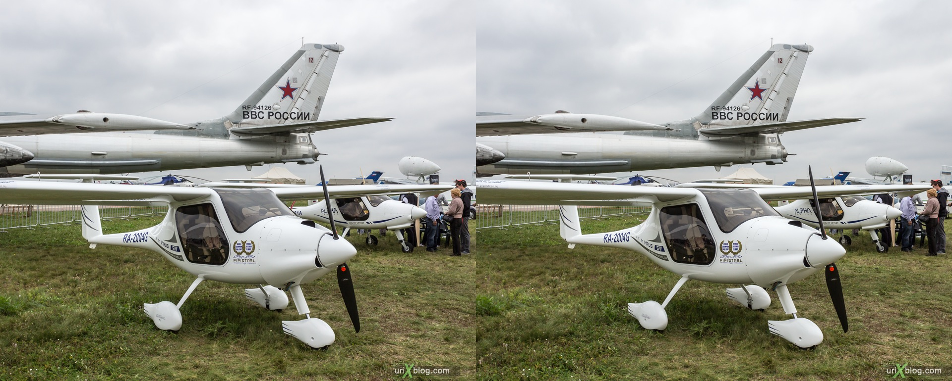 2013, Pipistrel Virus SW, MAKS, International Aviation and Space Salon, Russia, Ramenskoye airfield, airplane, 3D, stereo pair, cross-eyed, crossview, cross view stereo pair, stereoscopic