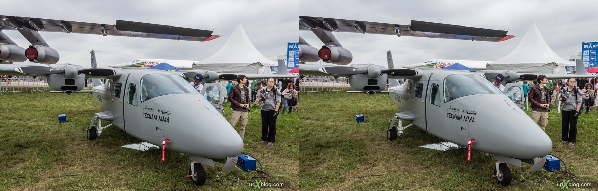 2013, Tecnam P2006 MMA, MAKS, International Aviation and Space Salon, Russia, Ramenskoye airfield, airplane, 3D, stereo pair, cross-eyed, crossview, cross view stereo pair, stereoscopic