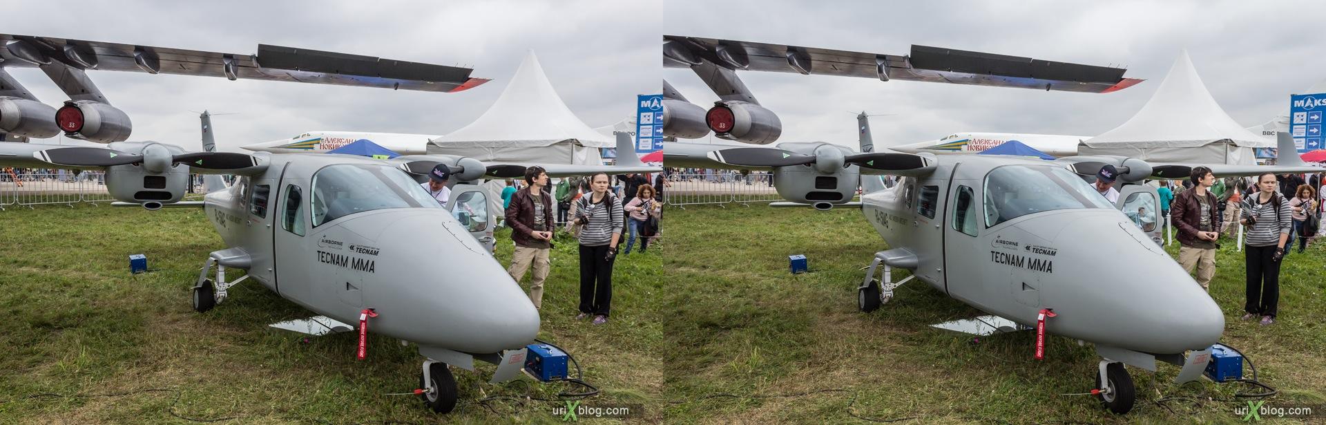 2013, Tecnam P2006 MMA, Россия, Раменское, Жуковский, аэродром, самолёт, экспозиция, МАКС, Международный Авиационно-космический Салон, 3D, перекрёстная стереопара, стерео, стереопара