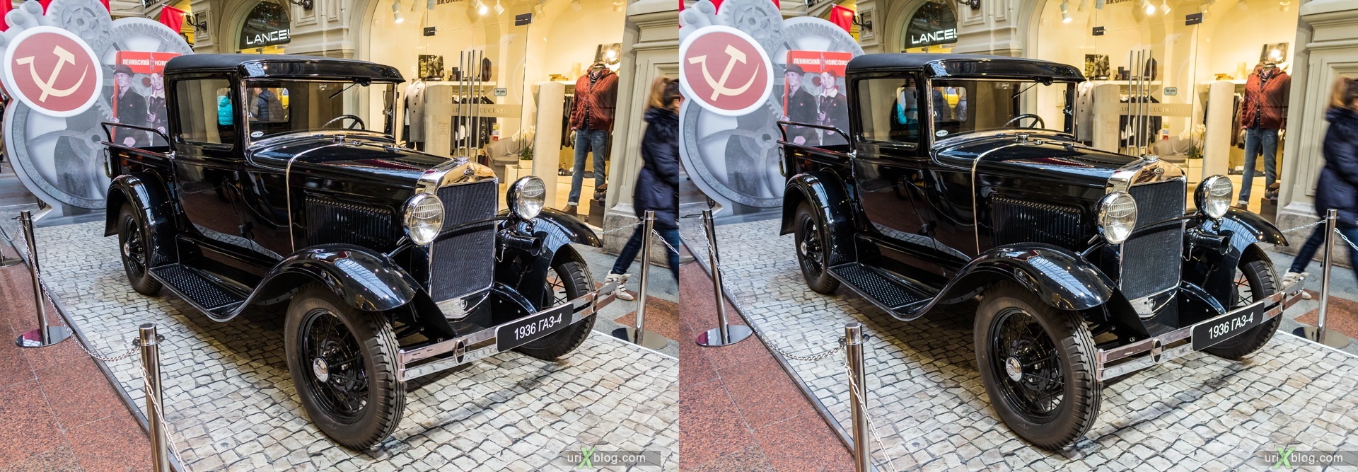 2013, Moscow, Russia, GAZ-4, GUM, old, automobile, vehicle, exhibition, shop, mall, 3D, stereo pair, cross-eyed, crossview, cross view stereo pair, stereoscopic