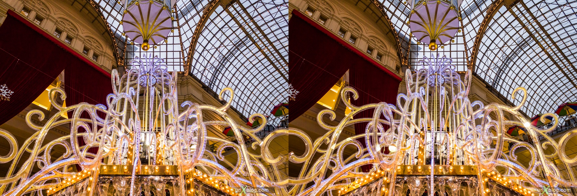 2013, Moscow, Russia, GUM, fountain, shop, mall, 3D, stereo pair, cross-eyed, crossview, cross view stereo pair, stereoscopic