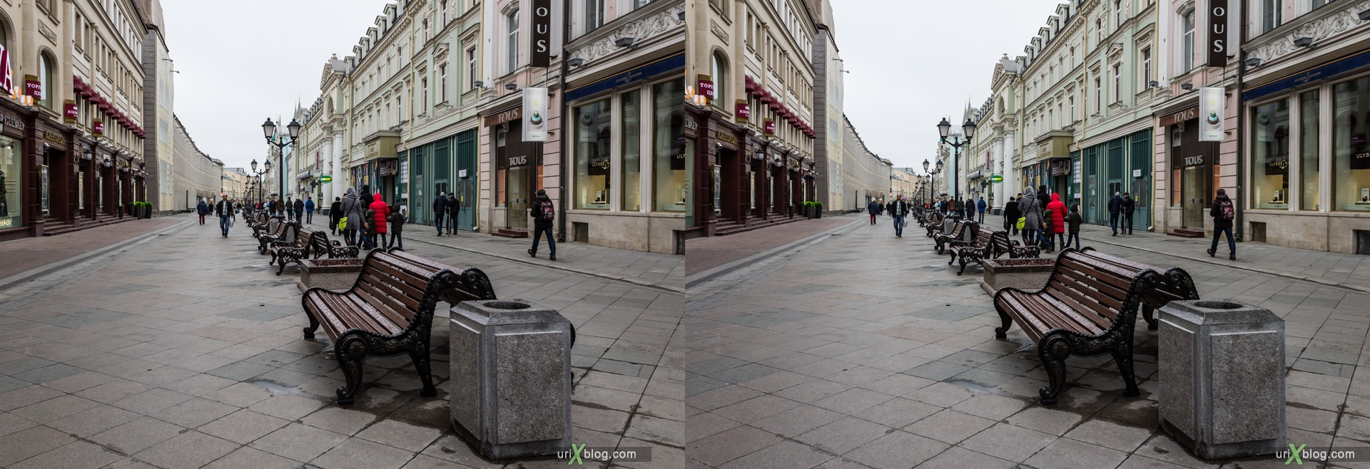 2013, Moscow, Russia, Nikolskaya, street, new pedestrian zone, 3D, stereo pair, cross-eyed, crossview, cross view stereo pair, stereoscopic