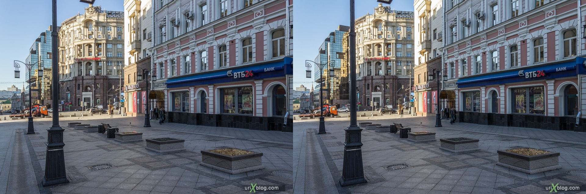 2013, Moscow, Russia, Kamergersky alley, street, new pedestrian zone, 3D, stereo pair, cross-eyed, crossview, cross view stereo pair, stereoscopic